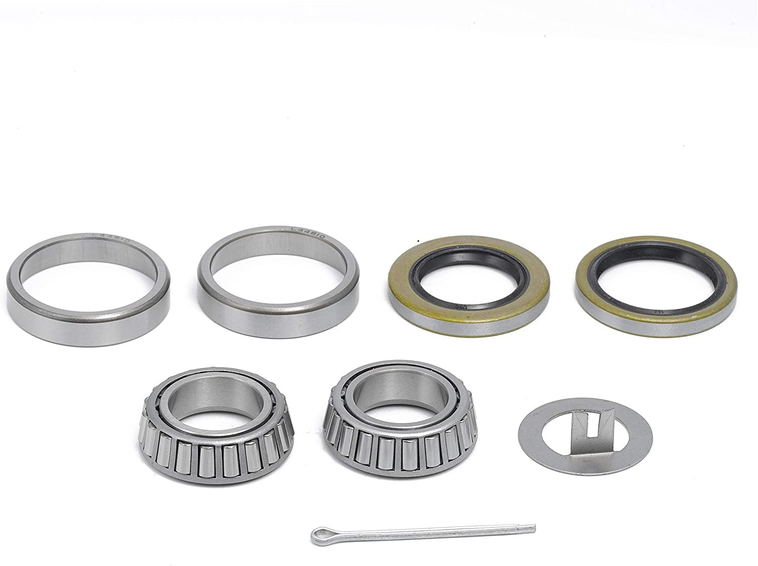 QJZ [1 Set] 2000-2200 lbs Trailer Axle Bearing Kit fits EZ Lube Spindle 1.063'' (1 1/16''), L44649/L44610, T-Washer, Cotter Pin, 12192TB (1.250'' ID) and 15192TB Seals (1.500'' ID)
