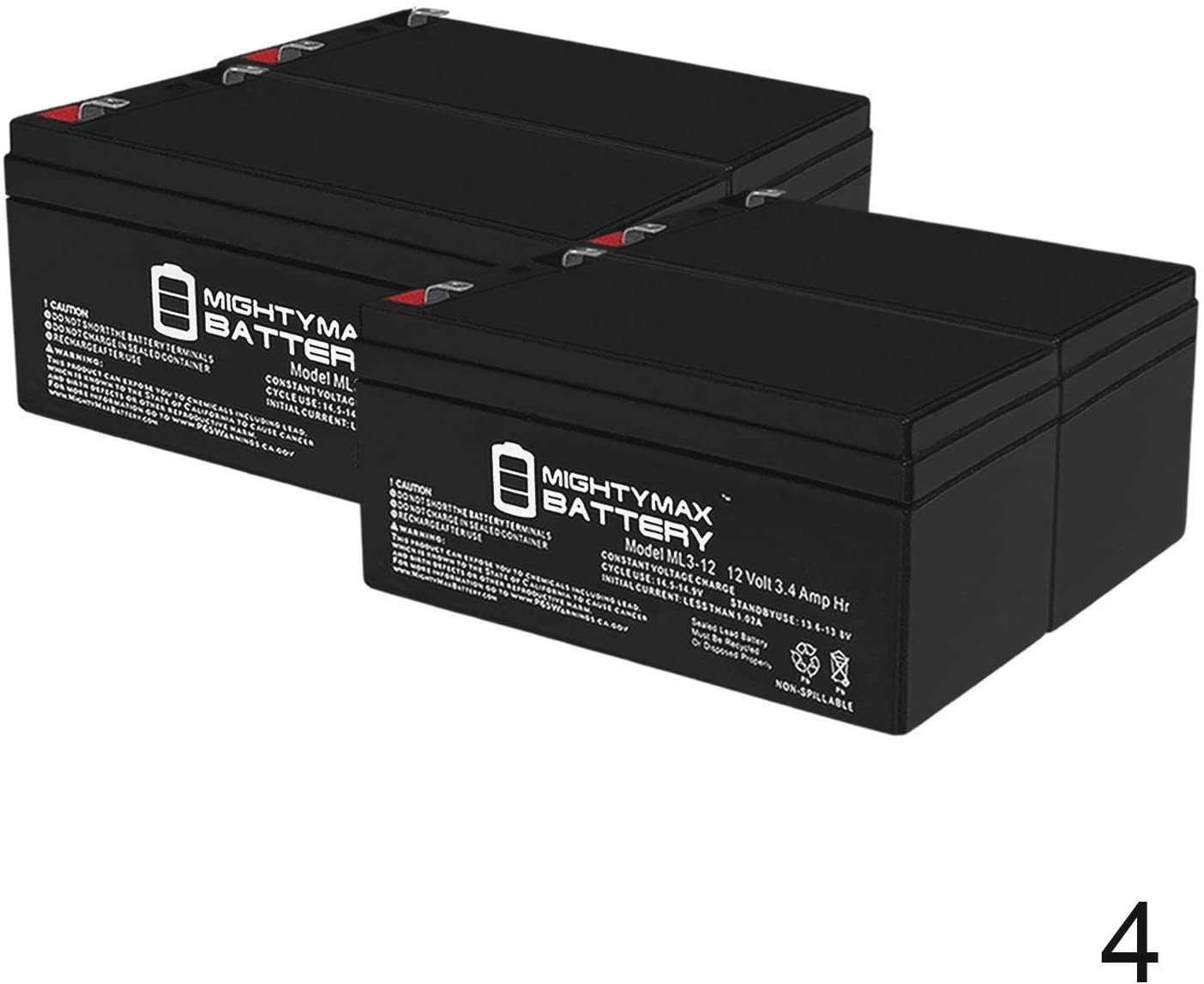 Mighty Max Battery ML3-12 Battery for WP3-12 Backup 12 Volt 3.4AH - 4 Pack Brand Product