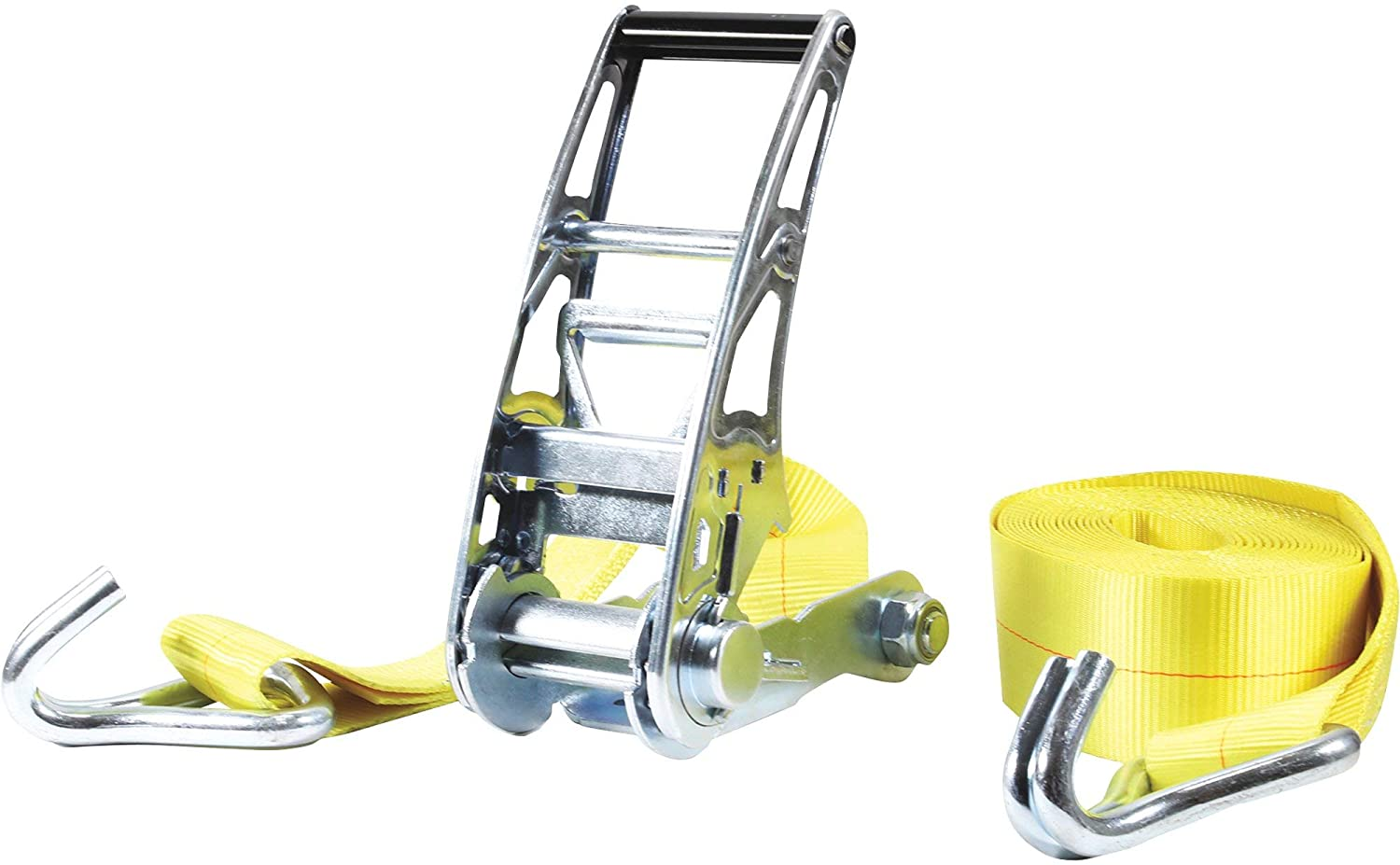 SmartStraps Commercial-Grade Stamped Ratchet Tie-Down Strap - 3in. x 27ft. with J-Hook, 15,000-Lb. Breaking Strength, Yellow, Model Number 4517