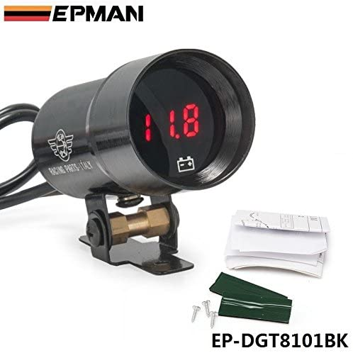 EPMAN 37mm Compact Micro Digital Smoked Lens Volt Battery Gauge Auto Red Led Voltmeter (Black)