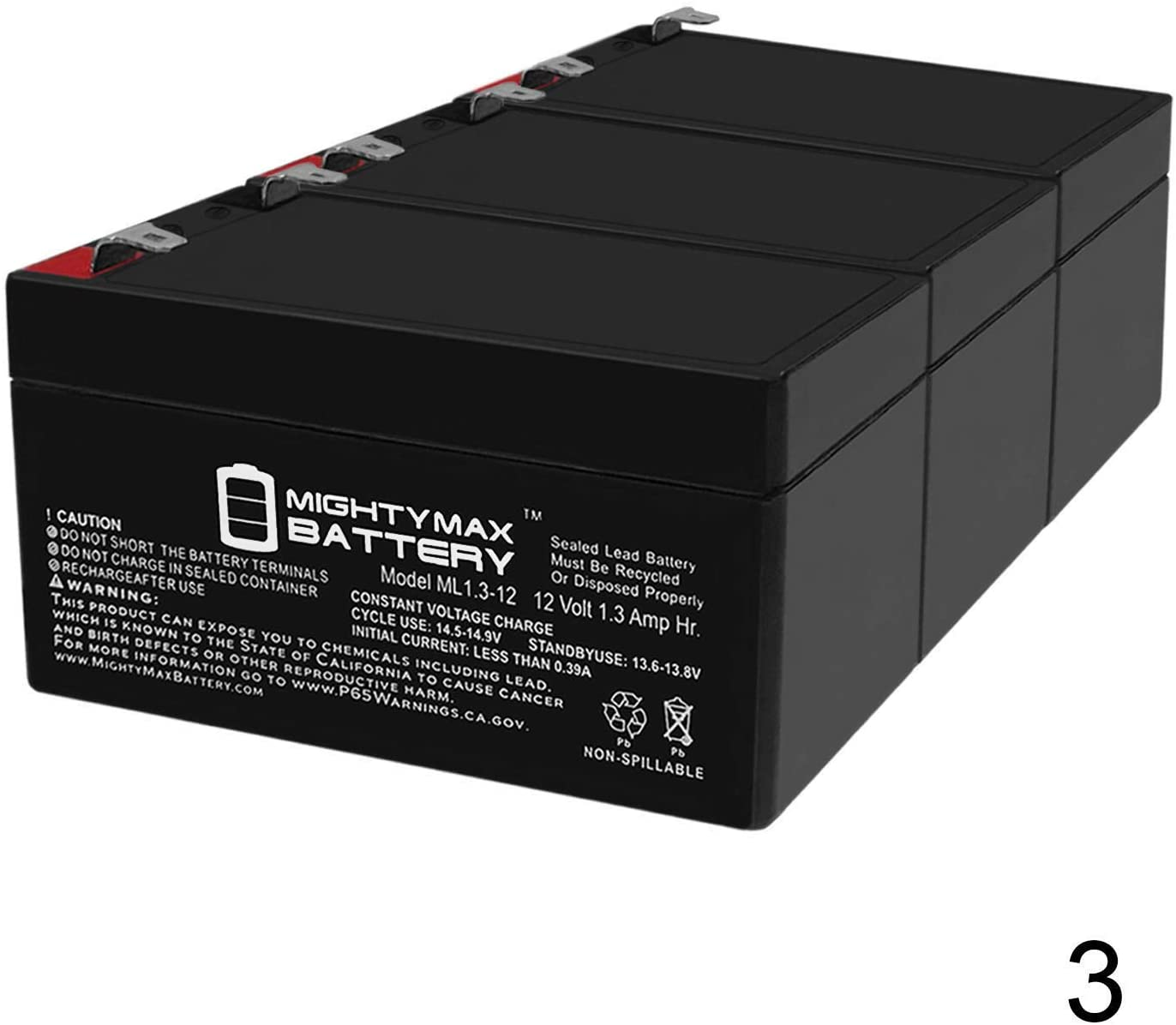 Mighty Max Battery Panasonic LC-R121R3P Black Medium 12V 1.3Ah VRLA Battery Replacement - 3 Pack Brand Product