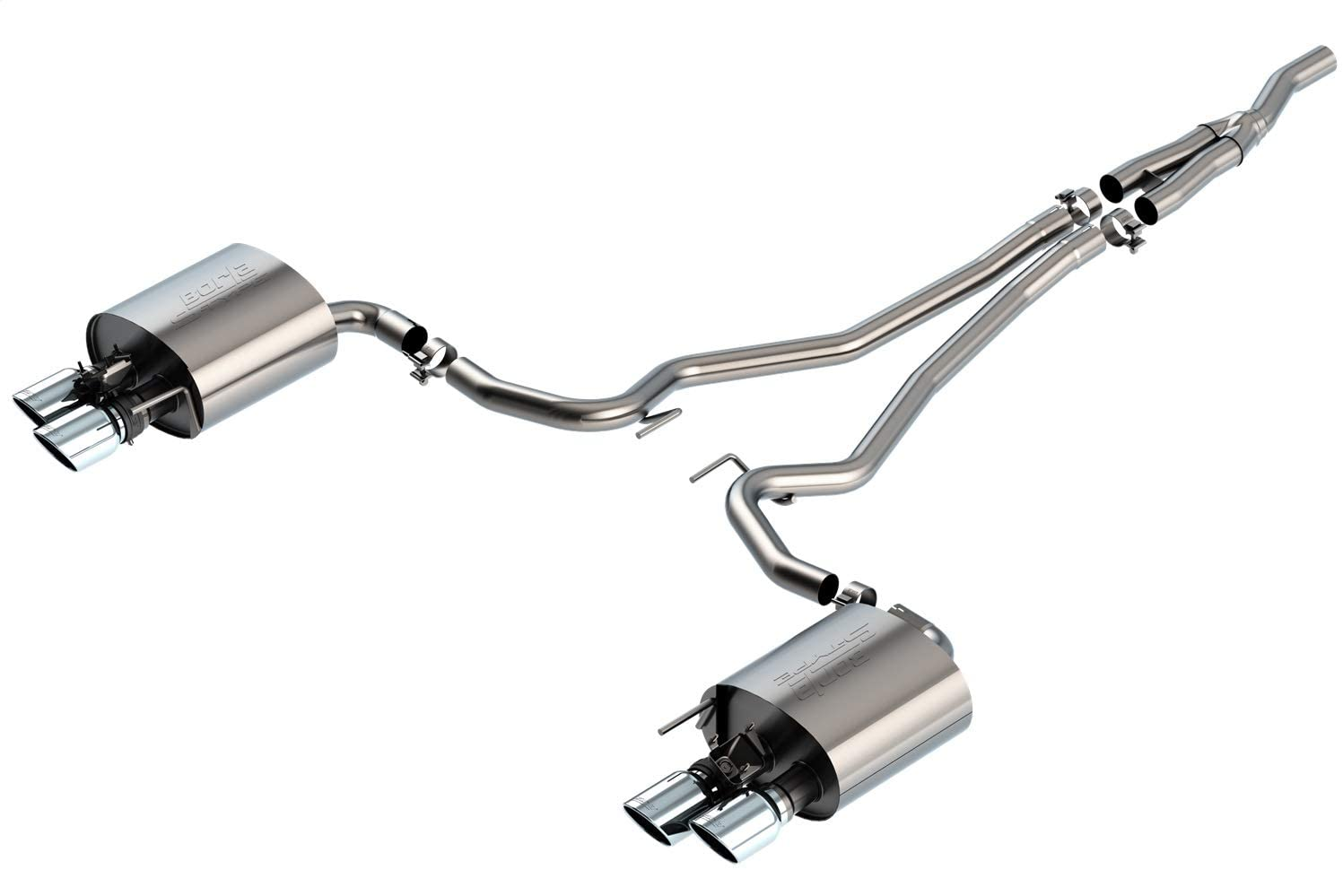 Borla 140827 S-Type Cat-Back Exhaust System 2.500 in. 4 in. Tip Size Dual Round Rolled Angle-Cut Long Dual Split Rear Exit S-Type Cat-Back Exhaust System