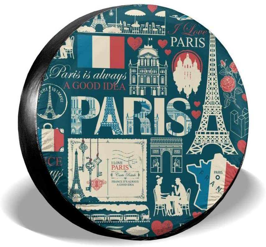 Universal Spare Tire Cover France and Paris Trendy Car RV Camper Wheel Tyre Covers Protectors for Trailer, SUV, Travel, Truck, Boat, Motorhome, Vehicle, Auto Accessories, Waterproof