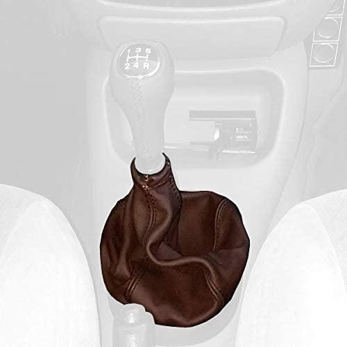 RedlineGoods Shift Boot Compatible with Mazda 121 1996-02. Black Alcantara-Silver Thread