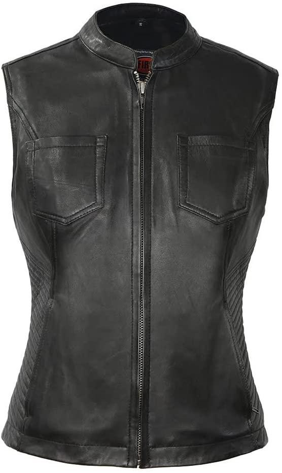 First MFG Co. - Envy - Women's Motorcycle Leather Vest (Black, Medium)
