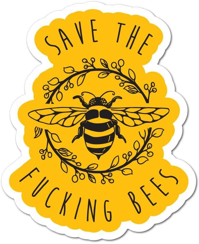 Save The Fcking Bees Sticker Funny Animals Protect Car Decal Bumper