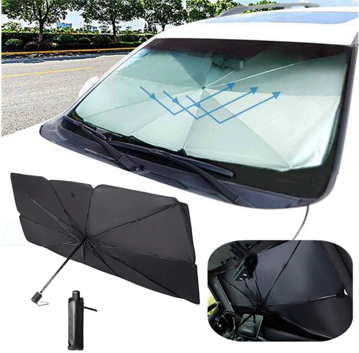 ytbmhhuoupx Car Windshield Sun Shade for Infiniti QX60 Blocks Rays Sun Umbrella Visor Protector Foldable Reflector Umbrella 25.6x49.2in