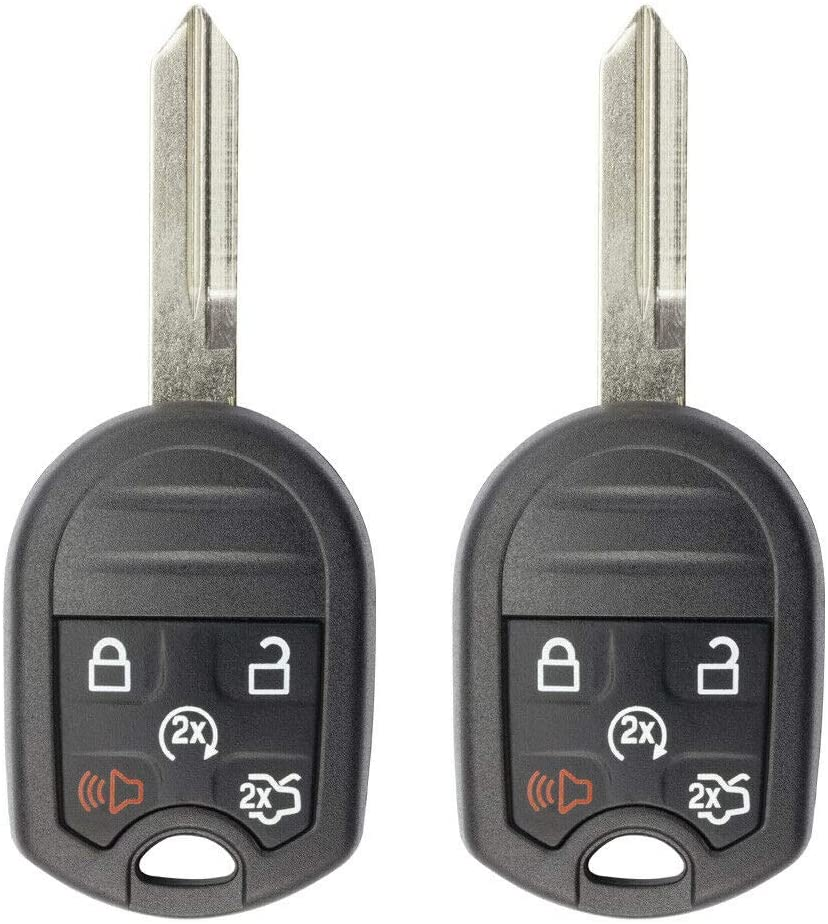 FikeyPro Keyless Entry Remote Control Car Key Fob Compatible with Ford Lincoln Focus Explorer Edge MKX 5-Button CWTWB1U793 (2 Pack)