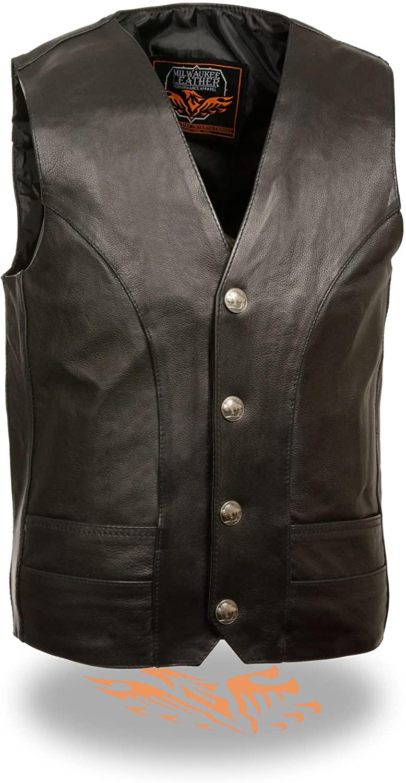Milwaukee Leather Men's Classic Leather Vest w/ Buffalo Nickel Snaps (Black)