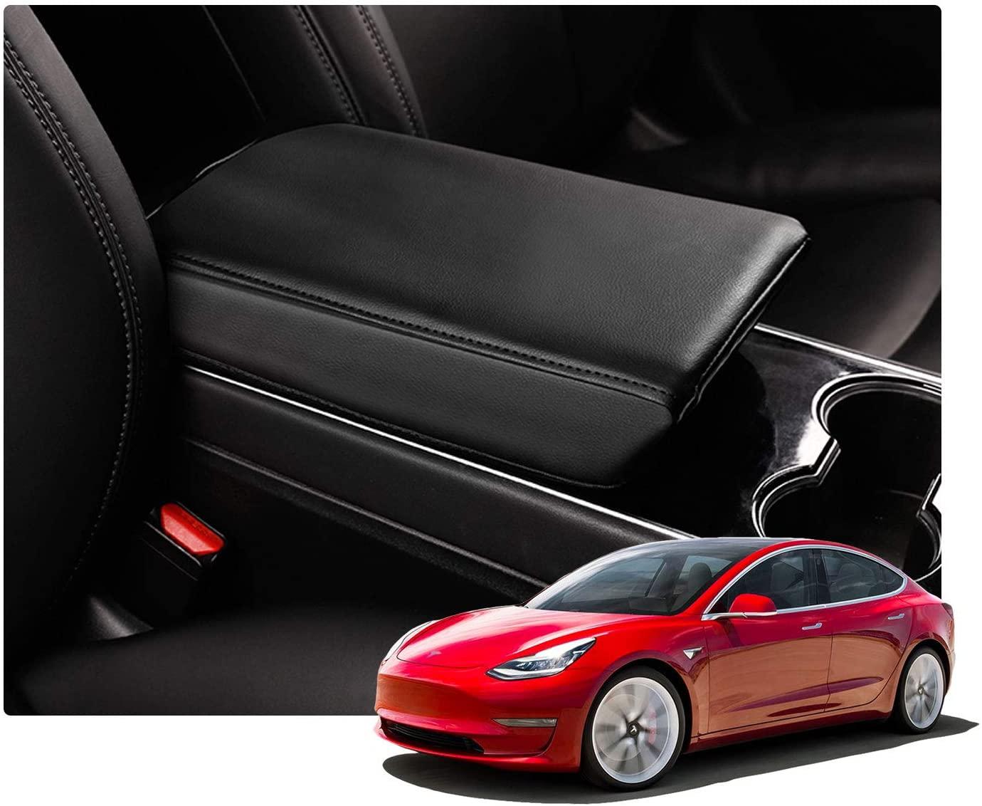 LFOTPP Interior Accessory for Tesla Model 3 Tesla Model Y Armrest Cover Car Center Console Lid Cover Armrest Box Cover Protector, Armrest Case Protector Protective Cover (Black Leather)