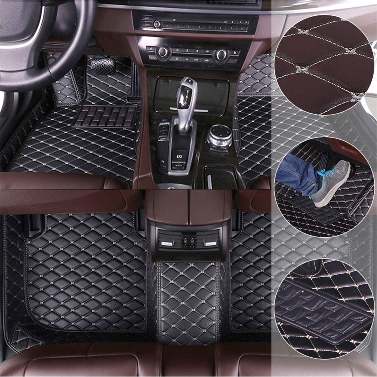 Car Floor Mats for Hyundai Kona 2019 Custom Leather mat Full Surrounded Cargo Liner All Weather Protection Waterpoof Non-Slip Set Left Drive Black and Beige