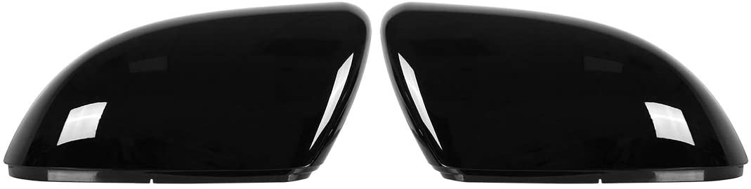 X AUTOHAUX Pair New Exterior Rear View Mirror Housing Door Wing Mirror Covering Cap Glossy Black for Volkswagen Golf 6 2009-2012