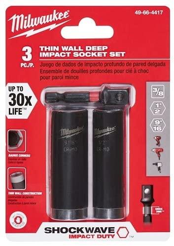 Milwaukee Genuine OEM 49-66-4417 3 Piece Thin Wall Deep Impact Socket Set w/ Radius Corners and Hex Socket Adaptor (Driver Not Included)