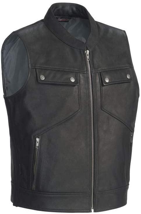 Tour Master Men's Nomad Leather Biker Vest - Black, XX-Large