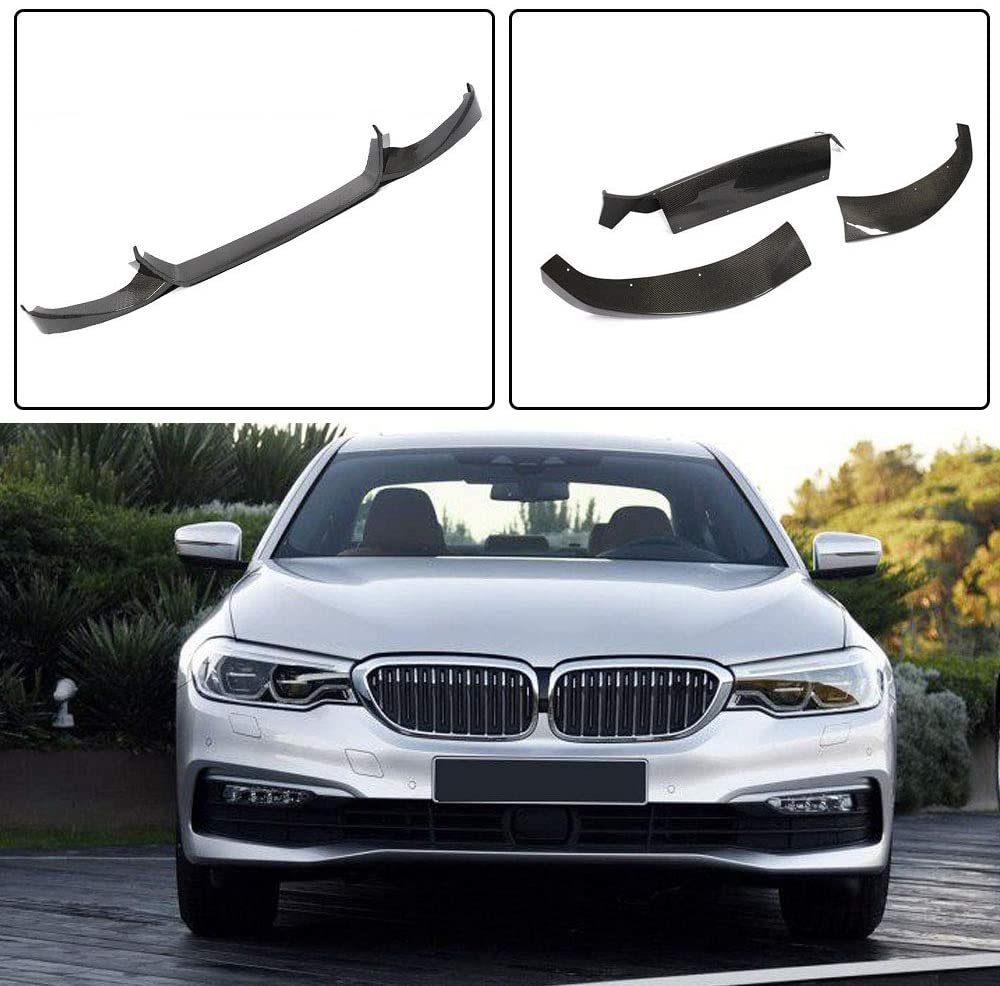 JC SPORTLINE G30 CF Front Lip, fits BMW 5 Series G30 520i 530i 540i Base 2017-2019 Carbon Fiber Front Chin Spoiler Factory Outlet Lower Lip Bumper Cover Protector 3 pcs/Set
