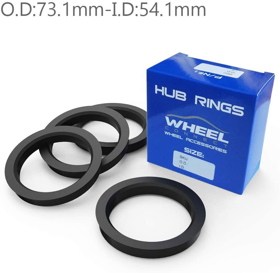 WHEEL CONNECT Hub Centric Rings, Set of 4, ABS Plastic Hubrings, O.D:73.1-I.D:54.1mm. P