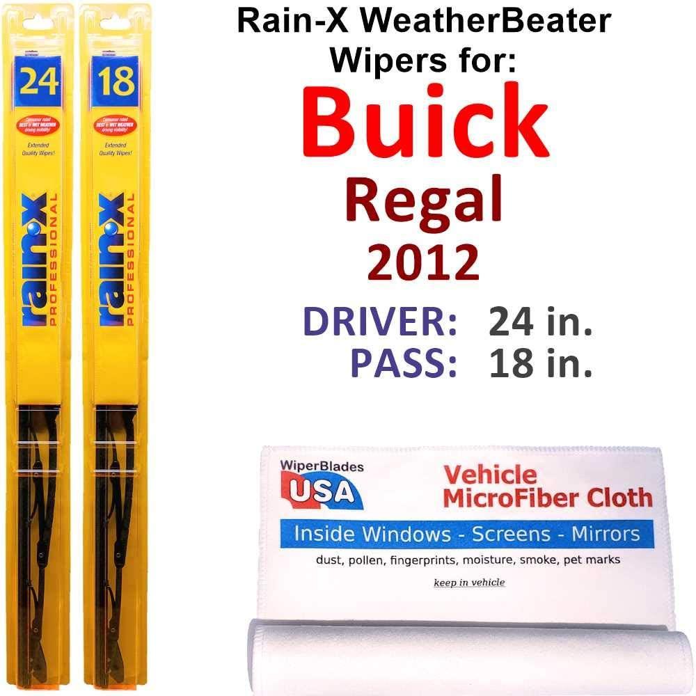 Rain-X WeatherBeater Wiper Blades for 2012 Buick Regal Set Rain-X WeatherBeater Conventional Blades Wipers Set Bundled with MicroFiber Interior Car Cloth