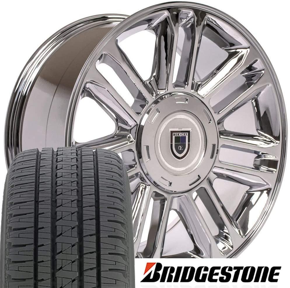 OE Wheels LLC 20 Inch Fits Chevy Silverado Tahoe GMC Sierra Yukon Cadillac Escalade CA83 Chrome 20x9 Rims Hollander 5358 Bridgestone Dueler Alenza HL Tires SET