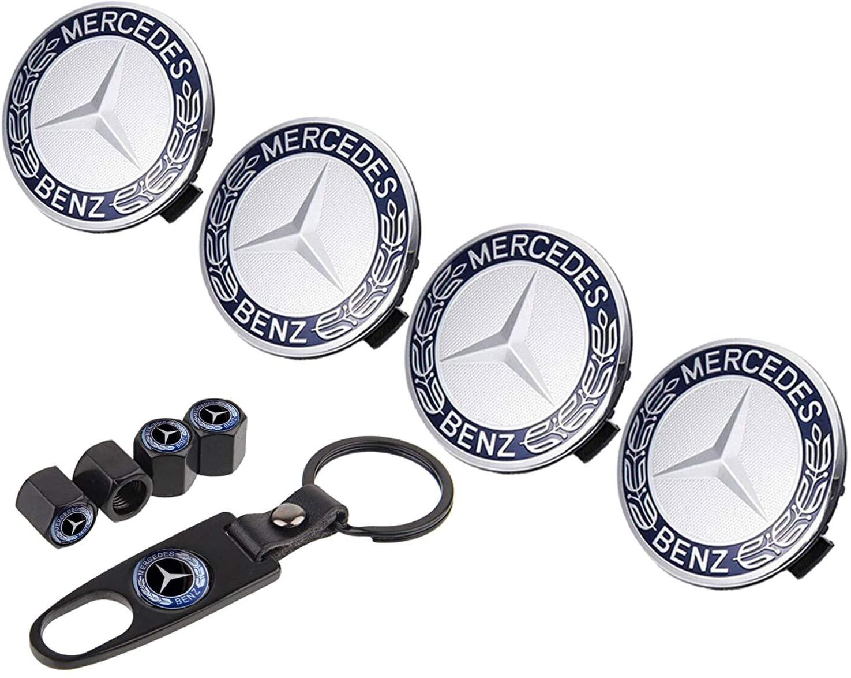 Sparkle-um 9-Piece Set 75mm Mercedes Benz Emblem Badge Wheel Hub Caps Centre Cover +Tire Valve Stem Caps Cover with Mercedes Keychain for Mercedes Benz.(Blue Laurel Wreath)