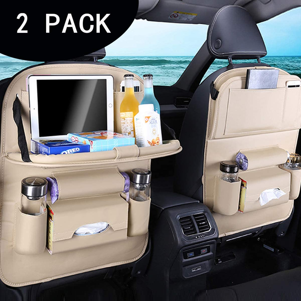 TYSKL Car Back Seat Organizers,PU Leather Car Back Seat Organizer,Back Seat Organizer with Tray and Storage Leather for Kids Toy Bottle Drink Vehicles Travel Accessories (2 - Pack, Beige)
