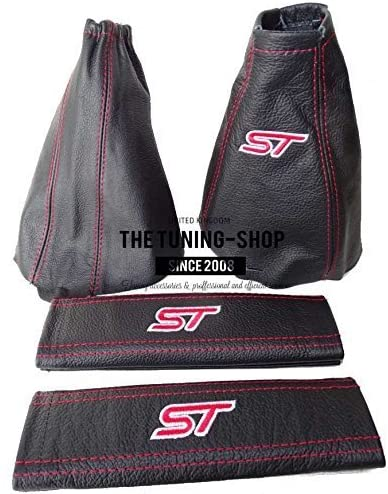 The Tuning-Shop Ltd For Ford Focus Mk1 1998-2004 Manual Shift & E Brake Boot + Seat Belts Covers Black Leather Red St Edition Embroidery