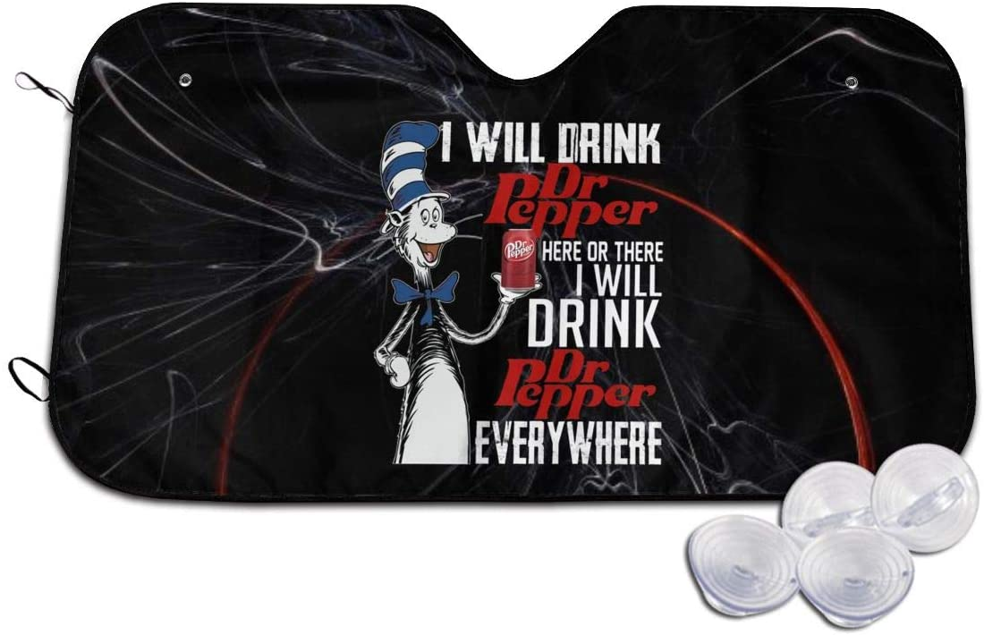 Dyfcnaiehrgrf I Will Drink Dr Pepper Here Or There Dr Seuss Car Windshield Sunshade Cover Sun Shade Car SUV Truck