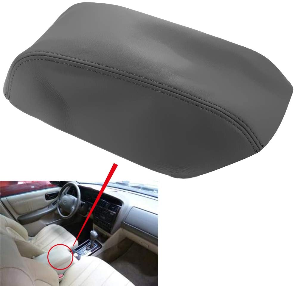 Anxingo Leather Center Console Lid Armrest Cover Replacement for Toyota Avalon 2000-2004 Gray