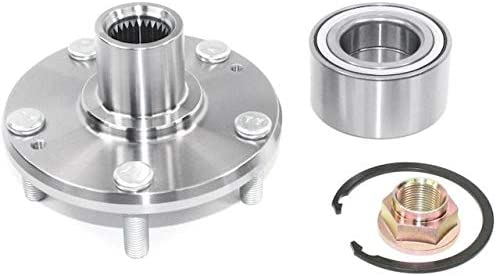 Front Wheel Hub and Bearing Repair Kit with Retaining Ring and Axle Nut - Compatible with 2010-2015 Kia Soul