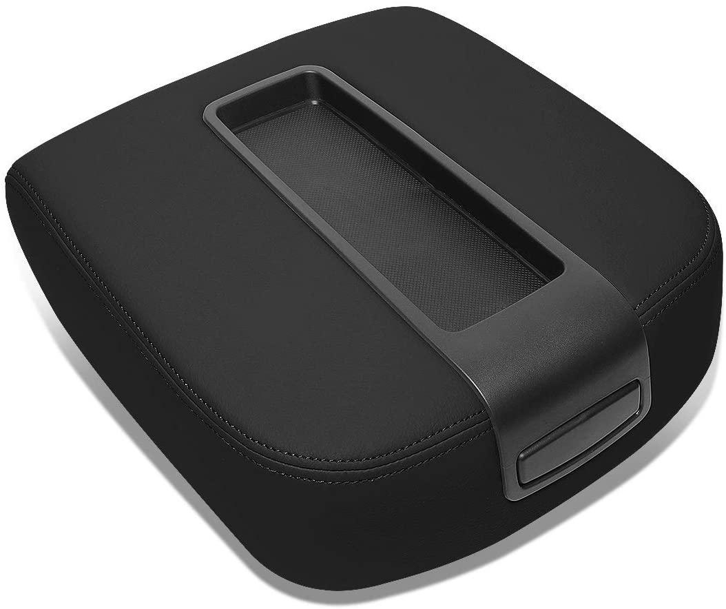 DNA Motoring GECS-002-BK Black Leather Front Center Console Lid Armrest Cover