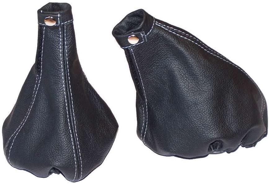 The Tuning-Shop Ltd For Alfa Romeo 156 1998-02 Shift & E Brake Boot Black Italian Leather Grey Stitching
