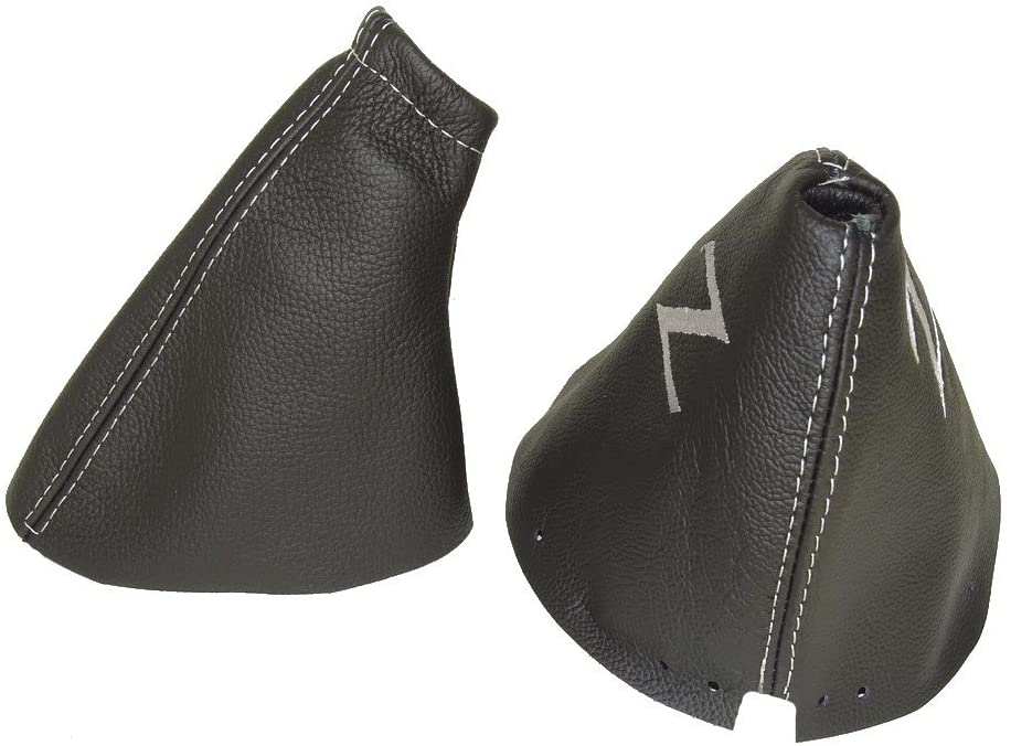 The Tuning-Shop Ltd FITS Nissan 350Z 2002-2008 Shift & E Brake Boot Black Leather Grey Z Embroidery