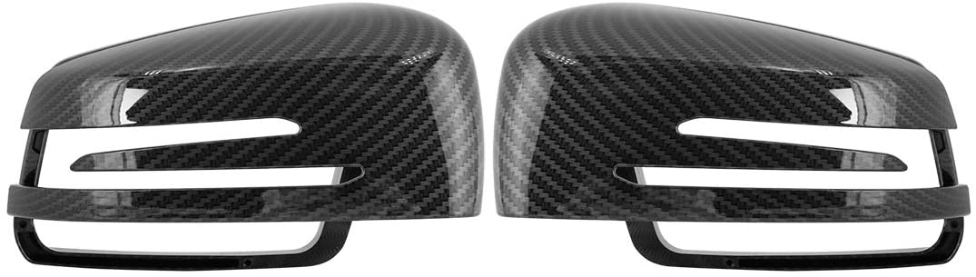 X AUTOHAUX Pair New Exterior Rear View Mirror Housing Door Wing Mirror Covering Cap Carbon Fiber Pattern for Mercedes S E C 2009-2013