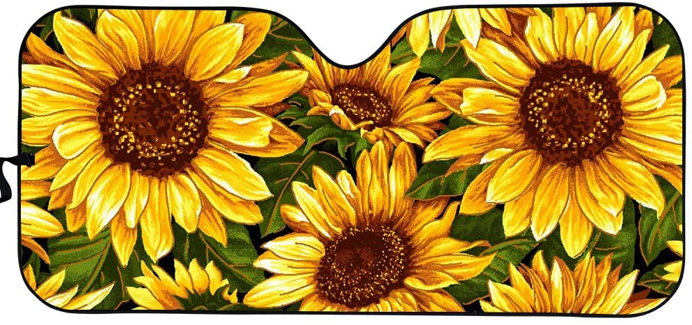 Amzbeauty Sunflower Car Windshield Sunshade Car Sun Visor Car Front Window Shade, Keeps Out UV Rays, Protectors Vehicle Interior