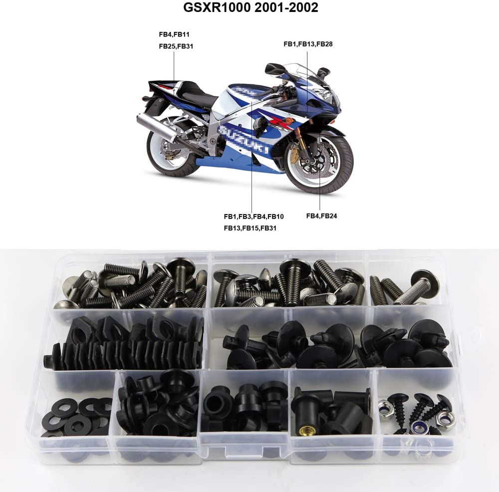 Xitomer Complete Bodywork Screws, for Suzuki GSXR1000 2001-2002 K1, Full Set Fairing Bolts/Washers/Nuts/Clips/Grommets (Titanium)
