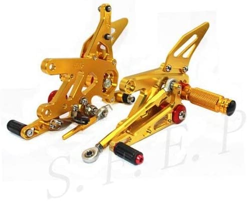 Frames & Fittings CNC Adjustable Rearsets Foot Pegs Rear Set for Aprilia RSV4 Factory APRC ABS 2013-2014-2015-2016 - (Color: Gold)