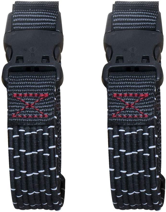 DHgateBasics Adjustable Stretch Straps,, Black/Reflective w/Red Line, 18 - 60, 2-Pack