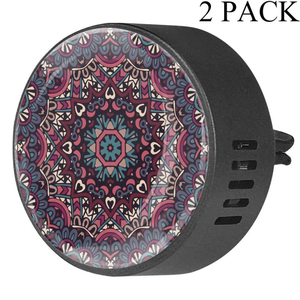 Dark Color Mandala Floral Car Diffuser Vent Clip Healthy Certification EVA Car Air Freshener 2 Pack, Frangipani