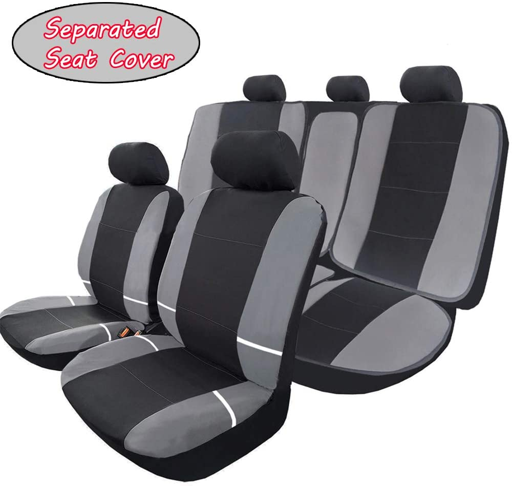 Big Ant Car Seat Covers, Full Set Flat Cloth Fbric Seat Covers Breathable Front Cover with 2 Detachable Headrests Separated Back Seat Cover - Fit Most Car, Truck, SUV, or Van (Black-Gray)