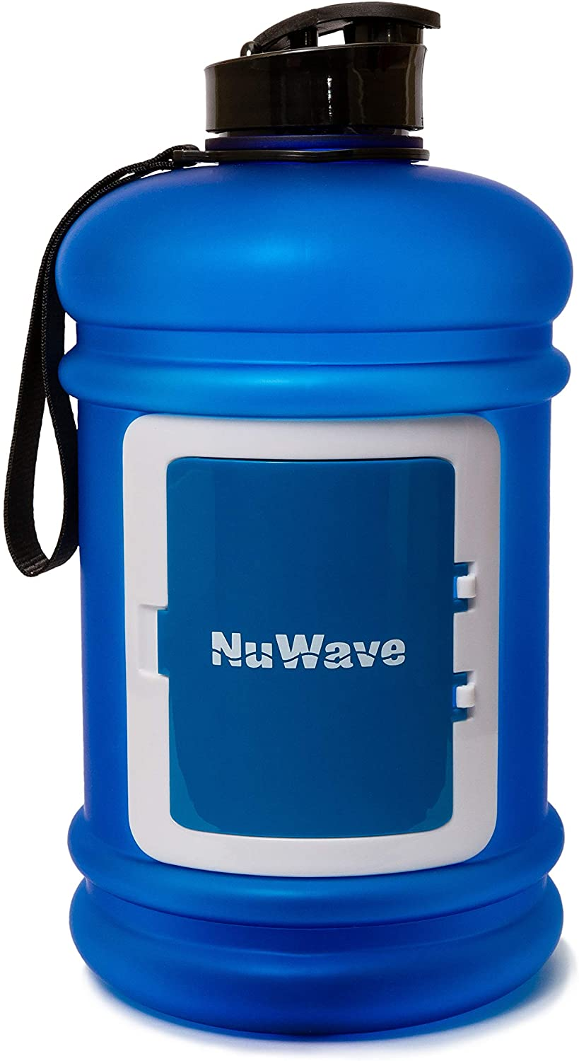 NuWave Fitness Half Gallon 74 OZ / 2.2L Water Jug Dishwasher Safe Large Water Bottle Front Card Holder Tritan Material BPA Free Leak Proof Gym Container (Blue)