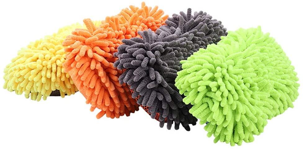 Premium Microfiber Car Wash Sponge - Premium Chenille Microfiber - Elastic Band Ultra Soft Car Cleaning Sponge - 6 Pack