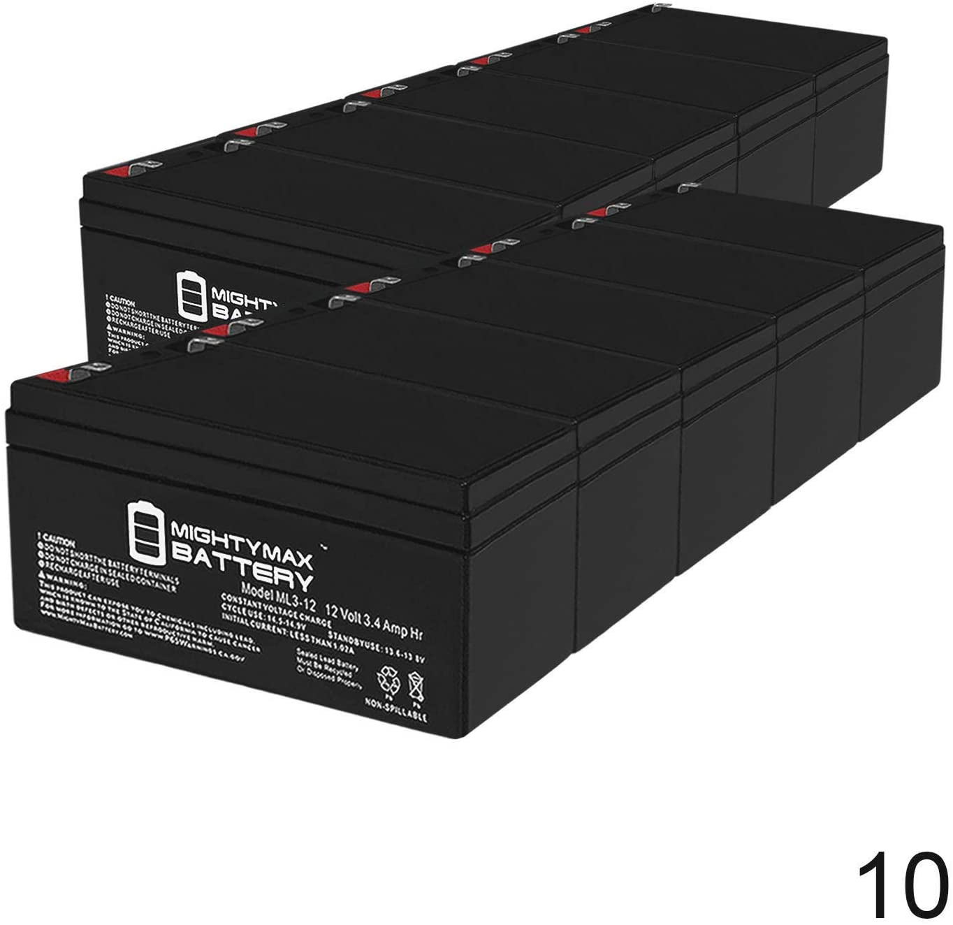 12V 3.4Ah Replacement Battery for CyberPower SL 325SL - 10 Pack