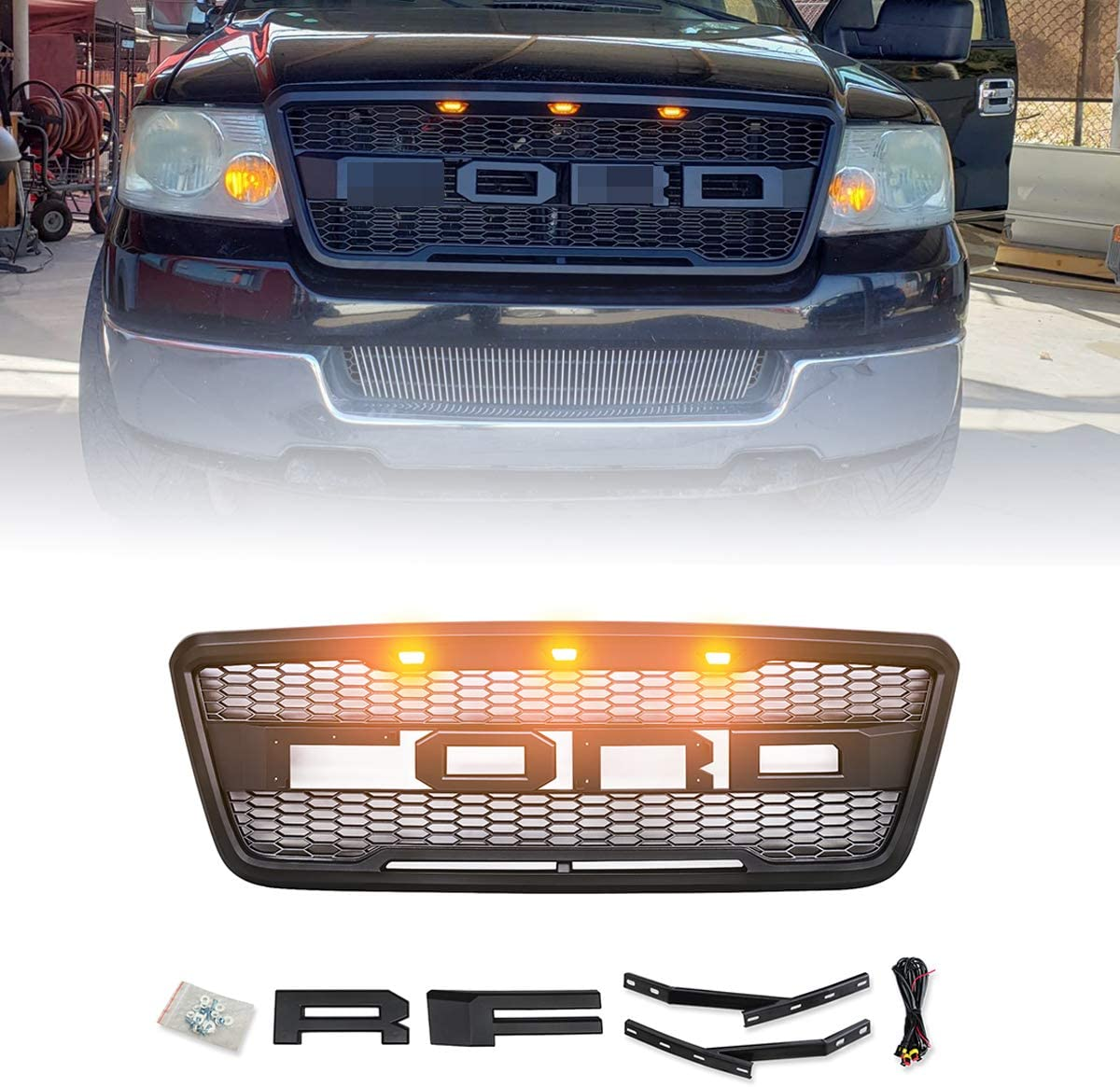 VZ4X4 Raptor Style Grill Mesh Grille, Compatible with Ford F150 2004 2005 2006 2007 2008 - Matte Black