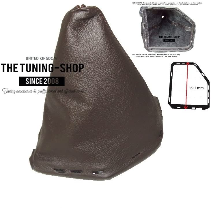 The Tuning-Shop Ltd for Nissan Navara FL 2009-2012 Shift Boot with Plastic Frame Brown Leather 190mm