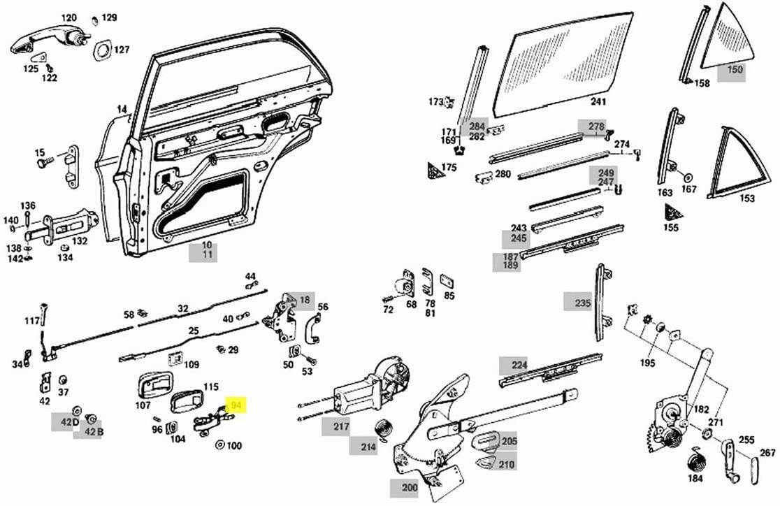 Interior Chrome Door Handle Rear Left W108 W109 W114 W115 W116