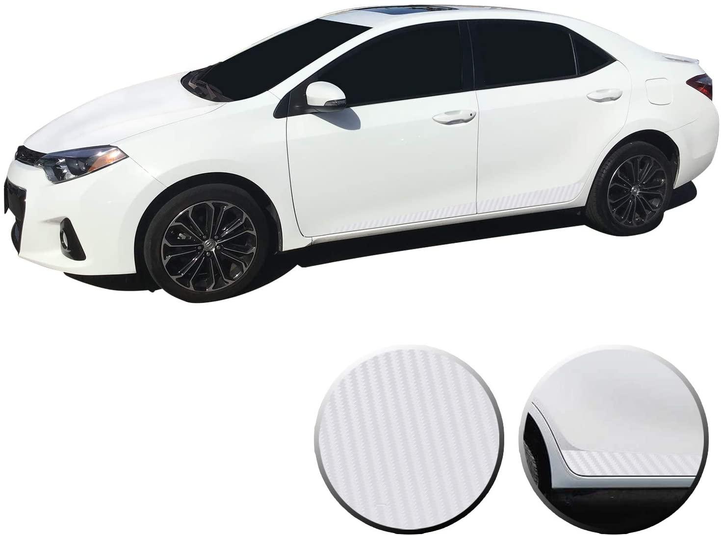 Optix Lower Door Panel Stripes Accent Vinyl Overlay Wrap Trim Compatible with Toyota Corolla 2014 2015 2016 2017 2018 2019 - Carbon Fiber White