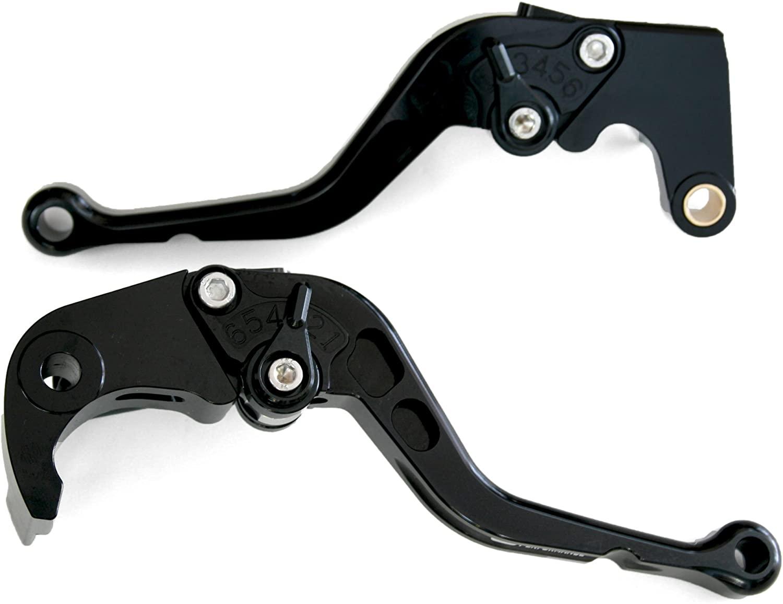 2004-2010 Suzuki DL650/V-STROM Motorcycle Adjustable Brake/Clutch Lever Set [Black with Black Switch]