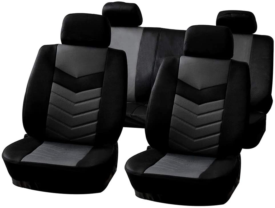 OCPTY OCPTY Car Seat Cover, Universal Seat Cushion w/Headrest/Steering Wheel Cover/Shoulder Pads 100% Breathable Automotive Accessories with Durable Embossed Cloth for Most Cars(Black/Gray)