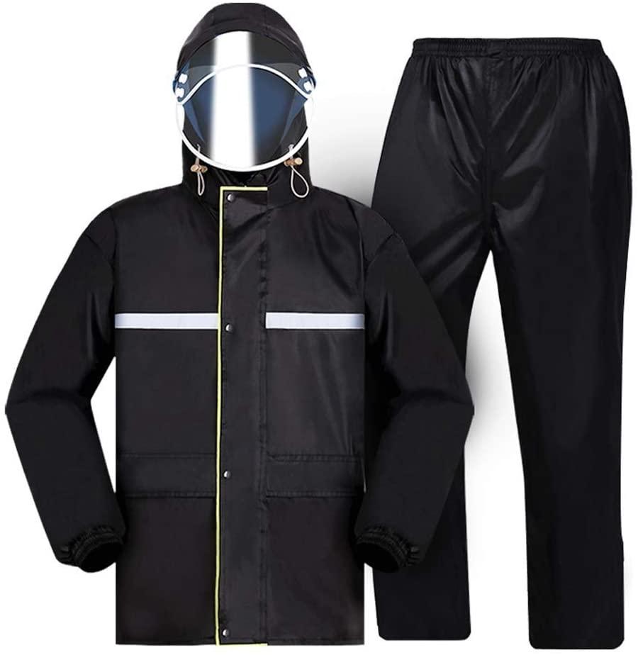 Raincoat Set for Adults Men and Women Reusable Rainwear Adults Waterproof Rainproof Windproof Hooded (Size : L)