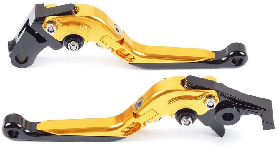 YAOkxin Clutch Lever, 1 Pair Adjustable Folding CNC Brake Clutch Levers Compatible with Suzuki GSXR1000 2001-2004, GSR 400 2008-2012, GSR 600 2006-2011,Gold