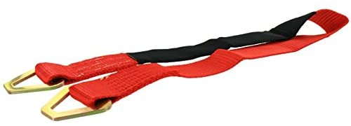 US Cargo Control Axle Strap - 2 Inch X 3 Foot Red Axle Strap - Includes 2 Inch Stamped D-Rings - Safely and Securely Tie Down Cars for Transport - 3,333 Pound Working Load Limit